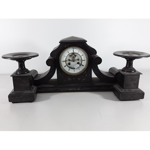 26 - Antique slate clock with garnitures...