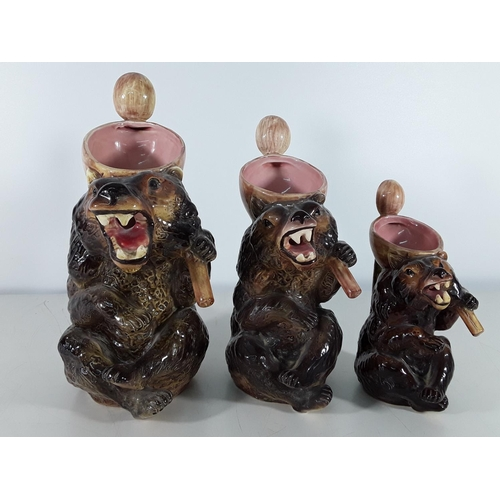 32 - Set of 3 graduated majolica bears...