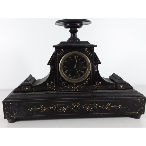 34 - Antique slate mantle clock...