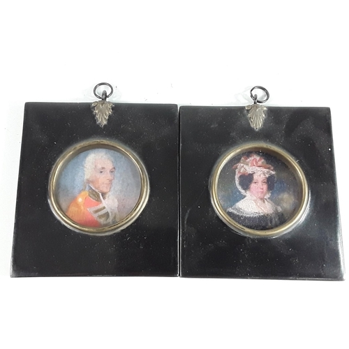 12 - Pair of square framed miniatures...