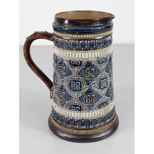 48 - Doulton Lambeth tankard approx 15cm tall marked 1880...
