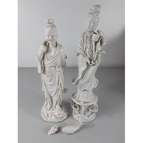 44 - Pair of Oriental Blanc de Chine figures...