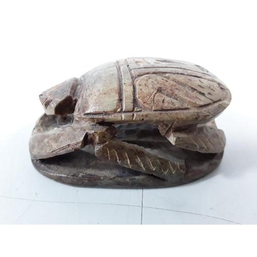 53 - Carved scarab beetle...