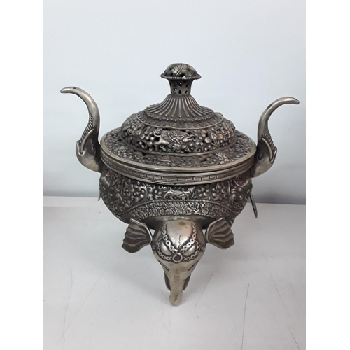 2 - Large oriental cast metal sensor with elephant head feet and pierced lid...
