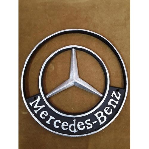 11 - Large cast metal Mercedes Benz sign...