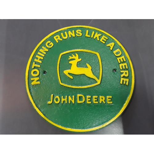 16 - John Deere cast metal sign...