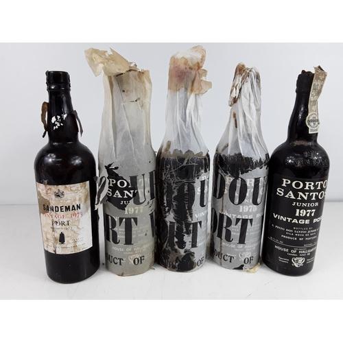 42 - 5 bottles of various port...