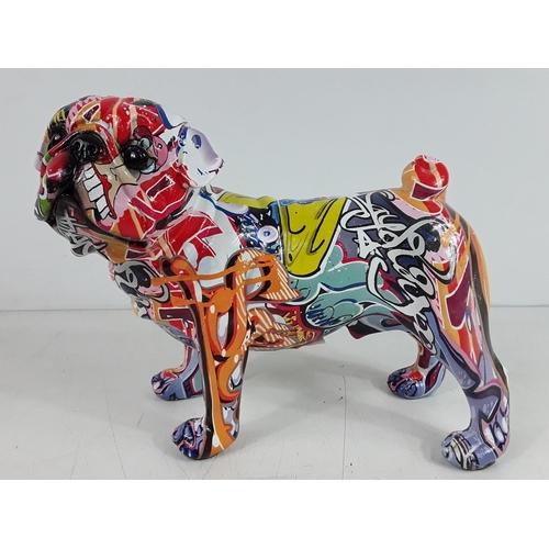 47 - Graffiti bull dog figure...