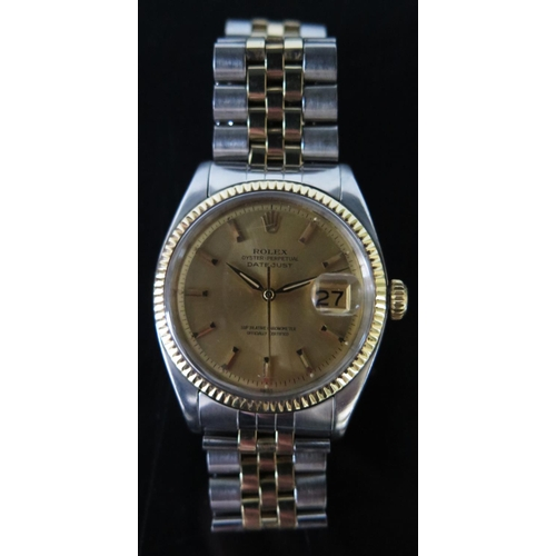 172 - A Rolex Oyster Perpetual Datejust Gent's Wristwatch in gold and steel case and original 462/555 stra...