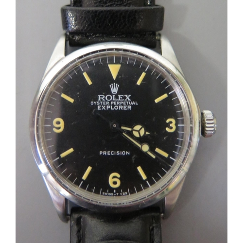 173 - A Rolex Oyster Perpetual Explorer Precision with black dial and Arabic numerals at 3, 6 & 9. Cal. 15...