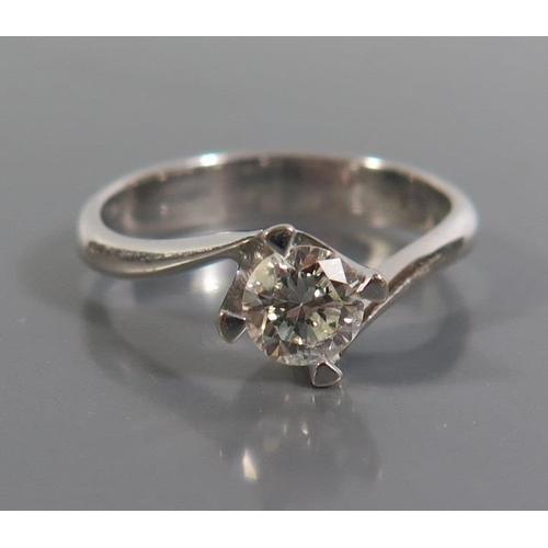 230 - An 18ct White Gold Diamond Solitaire Engagement Ring, est. .5ct, size J.5, 3.2g...