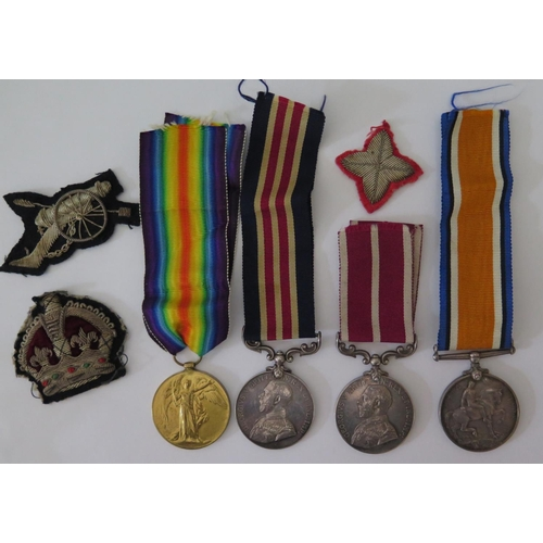 401 - A WWI MM Four Medal Group including British War and Victory Medals awarded to 164726 A.CPL. S. MOGRI...