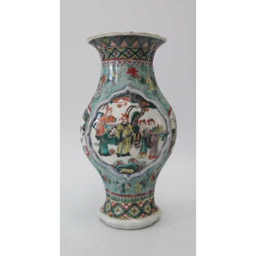 474 - A Chinese Famille Verte Vase decorated with figures, 25cm...