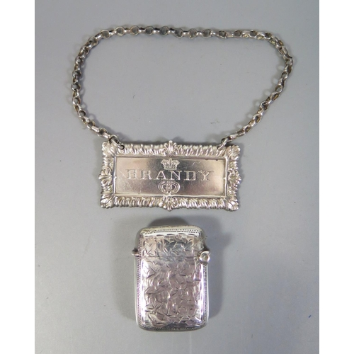 95 - A Small Victorian Silver Vesta with chased ivy leaf decoration, Birmingham 1898, JG AND silver brand...