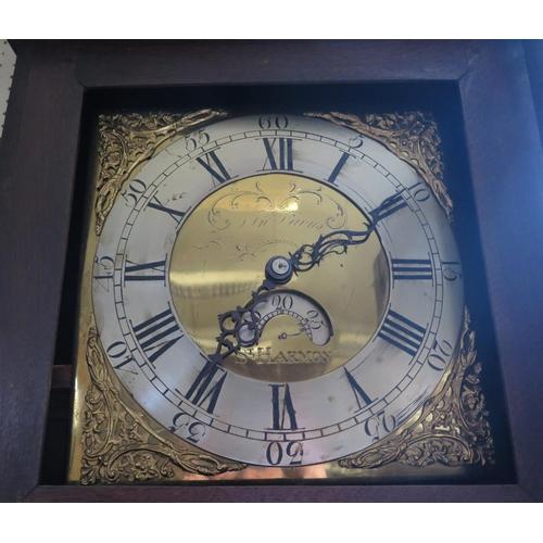 176 - Jn. Davis of St. Harmon (nr. Powys) _ A 30 Hour Oak Longcase Clock, the brass dial with silvered cha...