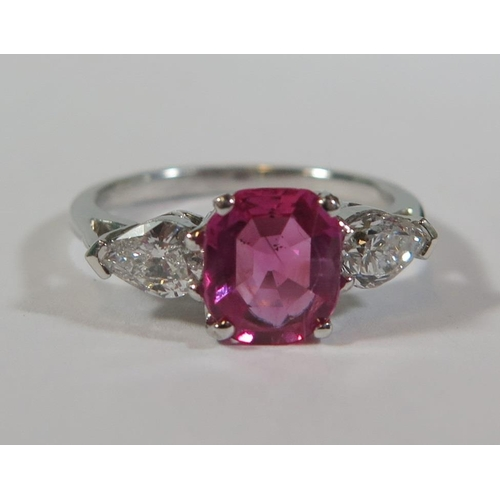 218a - A 1.52ct Burmese Pink Sapphire and Diamond Three Stone Ring with GCS Gemological Certificate stating...