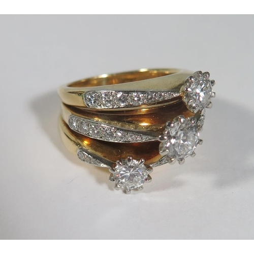 222a - A Three Shank Diamond Ring with three principal stones (ETD 1.8ct), size N.5, 19.8g *PHONE BID*...