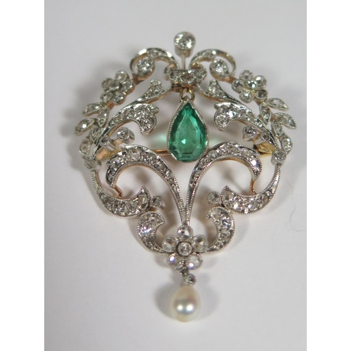 235a - An Emerald, Diamond and Pearl Brooch, the pear shaped emerald c. 1.17ct ETD 1.39ct, 4.5cm high, 8.1g...