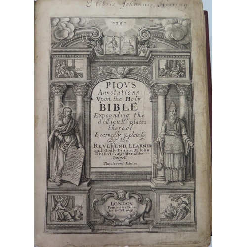 316 - John Diodati, Annotations on Difficulties (second edition), printed by Miles Fletcher 1648, bound in...