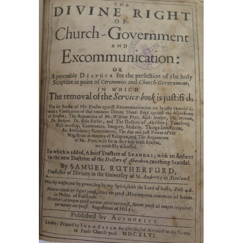 317 - Samuel Rutherford, The Divine Right of Church Government, printed by John Field, 1646, rebound in ha...
