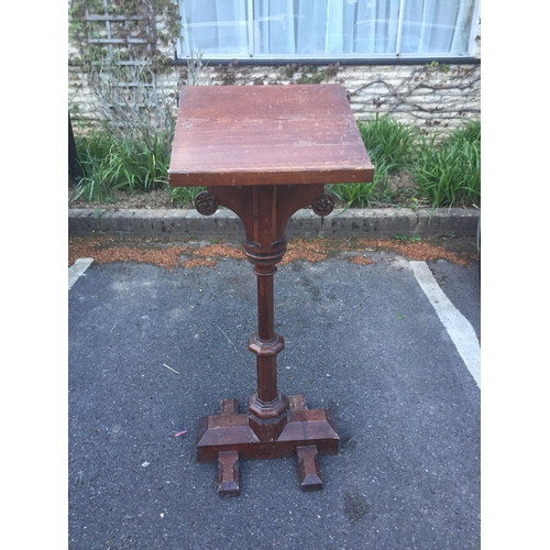 174a - A Victorian Pitch Pine Lectern with ecclesiastical detail, 121cm high....