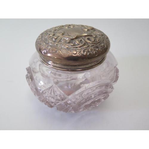 21 - A Birmingham Silver Top Cut Glass Dressing Table Pot...
