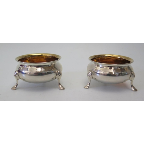 24a - A Pair of George V Silver Gilt Lined Salts, London, 1935Edward Barnard & Sons Ltd, 80g...