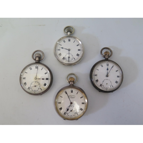 31a - Four Silver Pocket Watches...