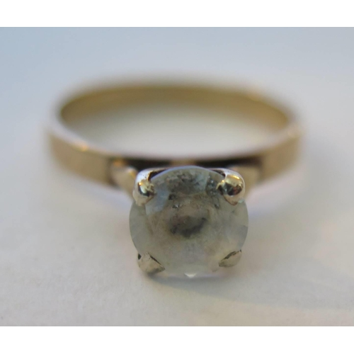 44f - A 9ct Gold Dress Ring, size N, 2.6g, stone c. 1.25ct...