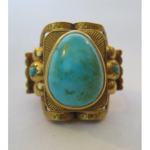 44g - An Unmarked High Carat Gold dress Ring, set with turquoise, size K, 25.3g...