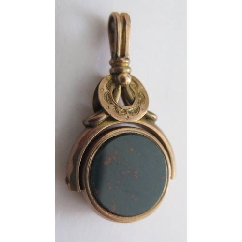 50d - A 9ct Gold, Bloodstone and Onyx swivel fob...