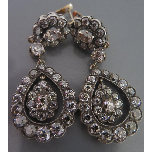 51a - A Pair of Russian Gold and Diamond Pendant Earrings, marked 56, c. 50mm drop, 17.7g...