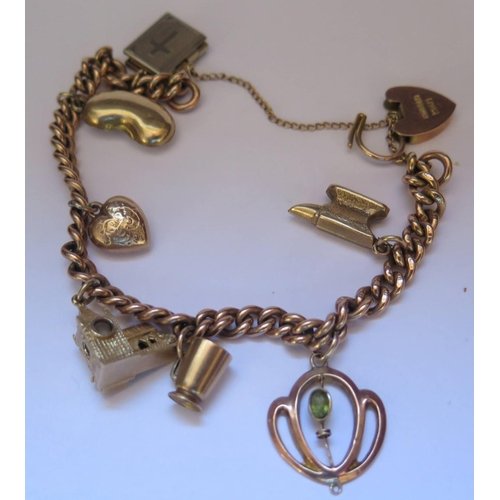 52 - A 9ct Gold Charm Bracelet, 24.6g gross (one charm not gold)...