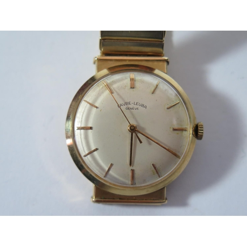 166 - A Favre-Leuba 18ct Gold Gent's Centre Seconds Manual Wristwatch with 32mm dial and on 18ct gold brac...