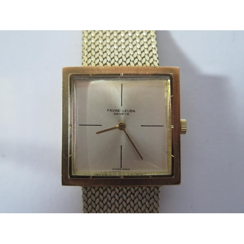 167 - A Favre-Leuba 18ct Gold Gent's Wristwatch with 27mm dial and on 18ct gold bracelet, 1970's, 72g gros...
