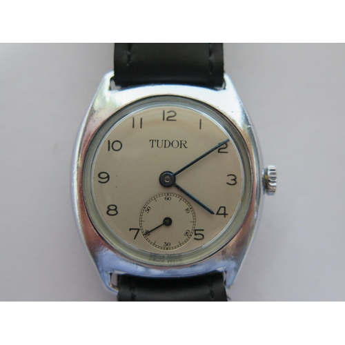 189 - A Tudor Stainless Steel Gent's Manual Wristwatch in Rolex case, the 29mm dial with subsidiary second...