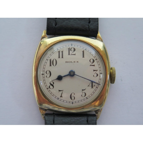 192 - A Rolex Prima Cushion 9ct Gold Cased Gent's Manual Wristwatch with 28mm dial, Chester 1934, Stolkase...