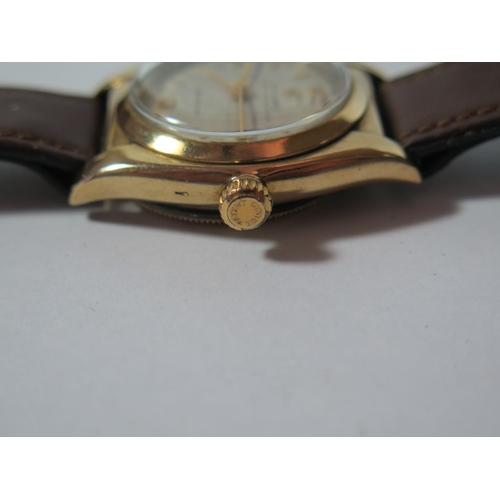 193 - A Rolex Oyster Speedking Precision 9ct Gold Gent's Centre Seconds Wristwatch, 32mm dial, 18 jewel ti...