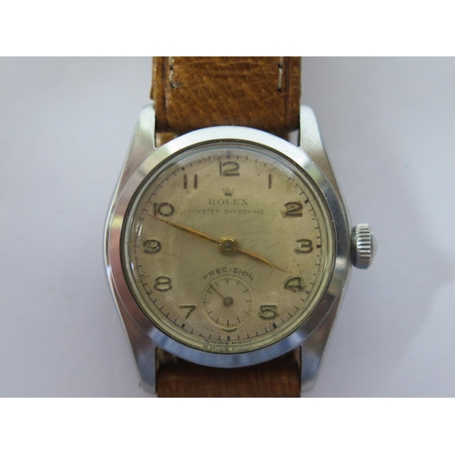 194 - A Rolex Oyster Speedking Precision Boy Size Stainless Steel Wristwatch, the 30mm dial with subsidiar...
