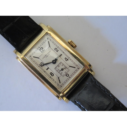 231 - A J.W. Benson 9ct Gold Cased Gent's Manual Wristwatch, the 23 x 15mm dial with Arabic numerals and s...
