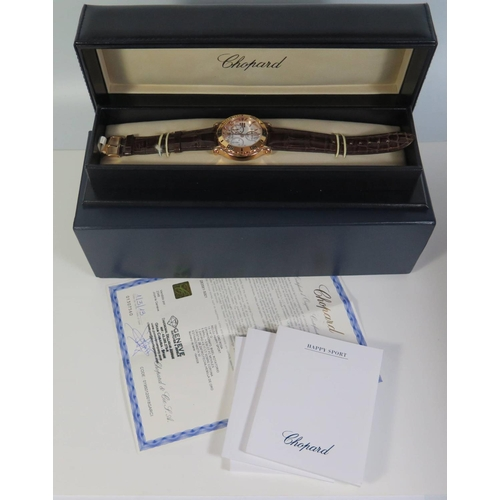 233 - A Chopard Happy Sport 18ct Gold Gent's Chronograph Wristwatch, the 29mm dial with Roman numerals, ca...