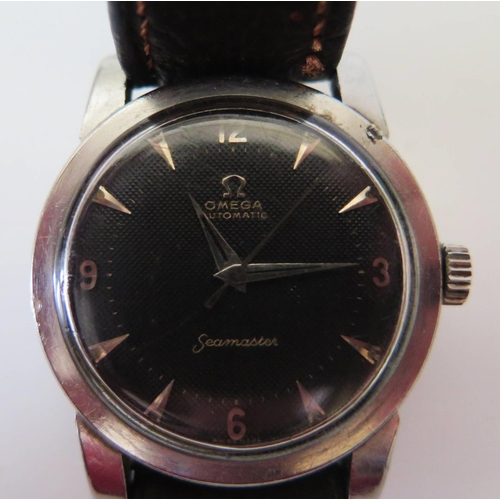 255 - A 1954 Omega Seamaster Gent's Automatic Steel Cased Centre Seconds Wristwatch, the 27mm black dial a...