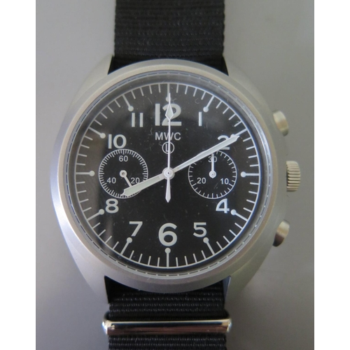 257 - An MWC Military Chronograph Manual Wristwatch, the 34mm dial with Arabic numerals. As new (un-issued...