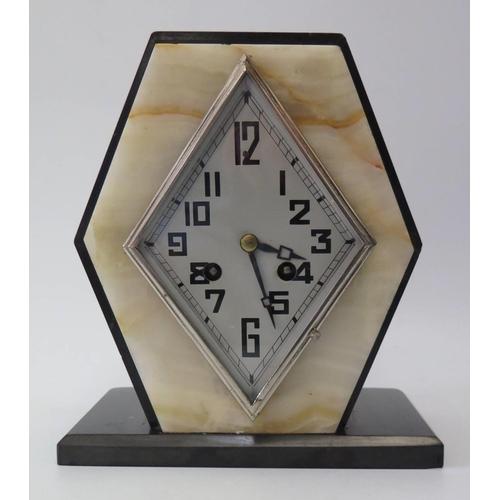 266 - An Art Deco Marble Mantle Clock, 22cm high...