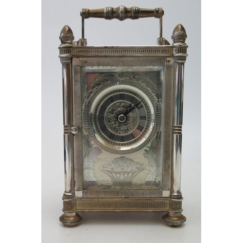 267 - A Mappin & Webb Bi-Centenary 1775-1975 Silver Cased Striking Carriage Clock, the chased foliate deco...