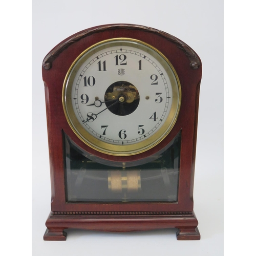 268 - A Mahogany Cased Bulle Patent Electric Mantel Clock, 32cm...
