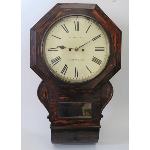 269 - Stringer of Stourbridge _ A Rare Coromandel Wood Cased Drop Pendulum Twin Fusee Wall Clock, the 11 i...
