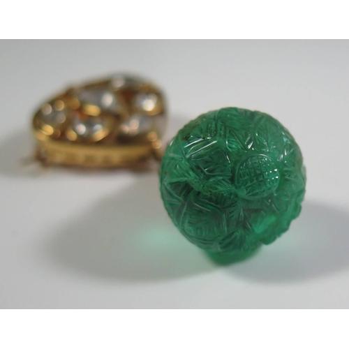 309 - A Moghul Indian Emerald Jewel Pendant Brooch, 48.48ct, 54mm drop...