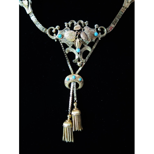 315 - A Continental Turquoise and Gold Necklace, mark to clasp 25.1g...