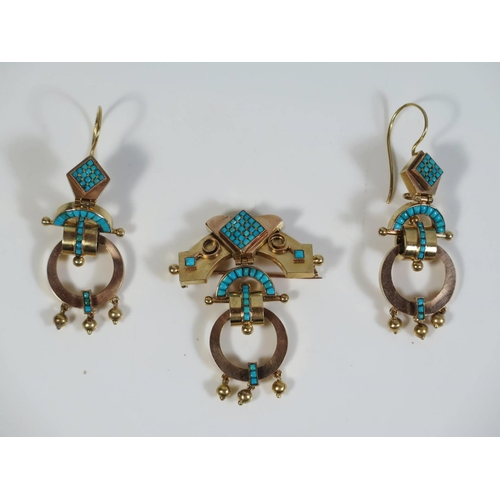 316 - A Turquoise and Gold Brooch and Earring Suite, 15.4g. Earrings c. 50mm drop and brooch c. 45mm...